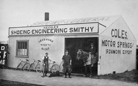 H E Coles' shoeing and engineering smithy, corner of Albert Street