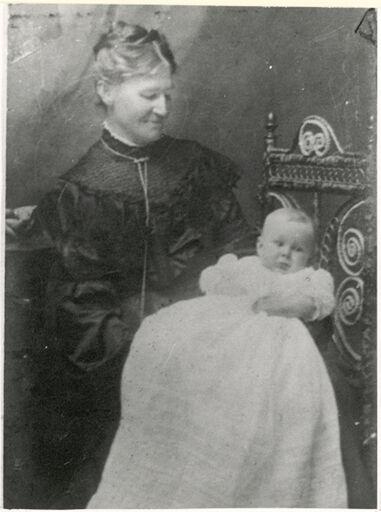 Mrs W Davis Holding Her Grandson