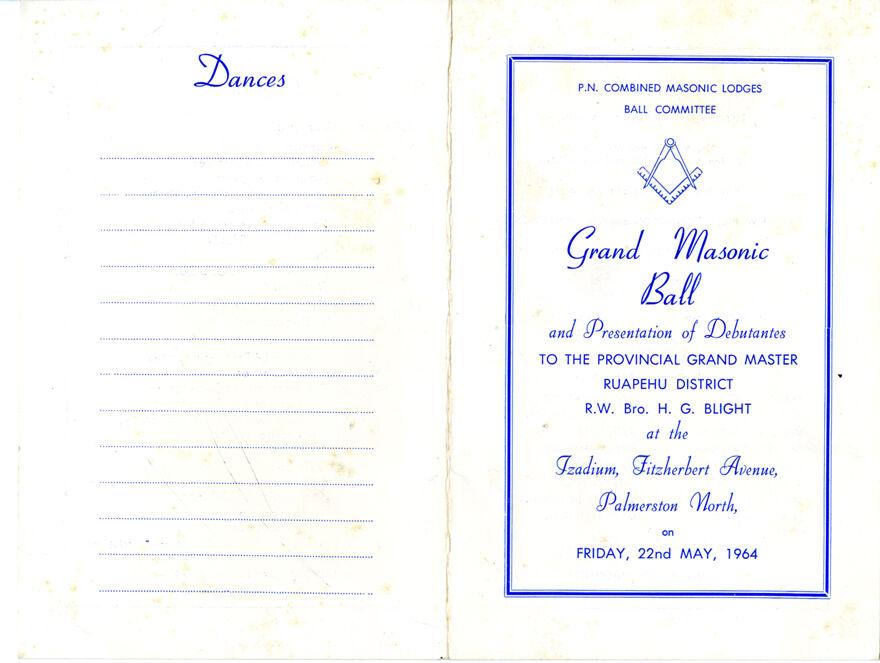 Page 1: Grand Masonic Ball programme