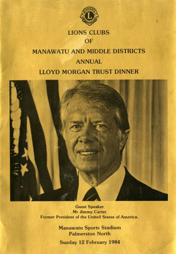 Programme for the Lions Clubs of Manawatu and Middle Districts annual Lloyd Morgan Trust dinner