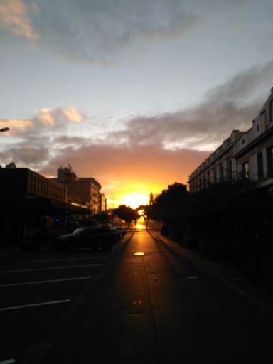 Hazy June sunrise over Coleman Mall