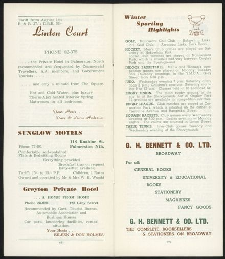 Visitors Guide Palmerston North and Feilding: July-September 1962 - 5