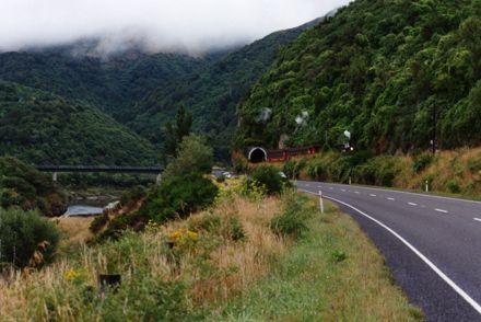 Train exiting tunnel by the Ballance Bridge