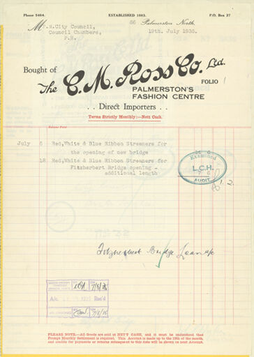 C M Ross Co. Ltd sales docket