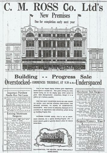 Newspaper advertisment of C M Ross Co Ltd Building Progress Sale
