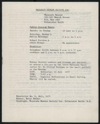 Manawatu Museum Society (Inc.) Newsletter No.9