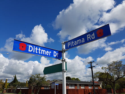 Dittmer Drive and Pitama Road street signs with poppies