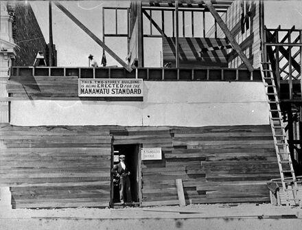 Construction of Manawatu Standard office, Main Street East