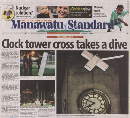 Newspaper article regarding the cross blown off Palmerston North Clock Tower, The Square