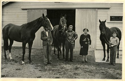Granny McDonald with horses at training stables