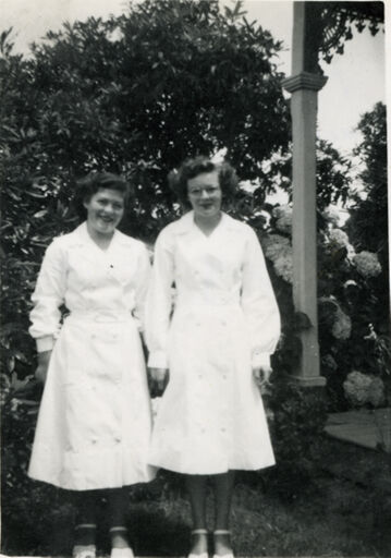 Faye Hall and Marie Haslem, waitresses for Royal Civic dinner