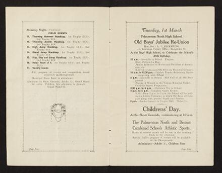Palmerston North 1927 Jubilee Souvenir Programme 4
