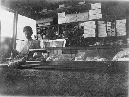 Interior of Augusta Mortensen's Art, Needle and Fancy Workers' Shop