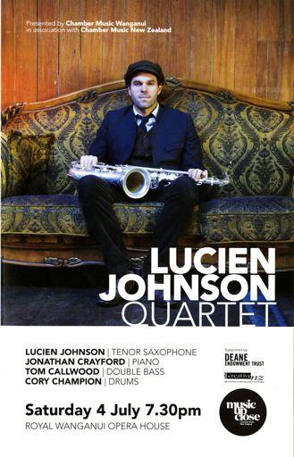 Programme - Lucien Johnson Quartet, Whanganui Opera House
