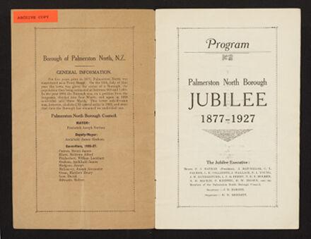 Palmerston North 1927 Jubilee Souvenir Programme 2