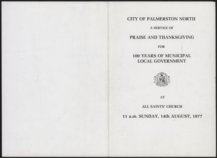 Programme for service to mark 100 years of local government in Palmerston North
