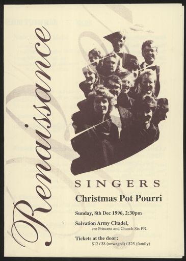 Renaissance Singers concert programme