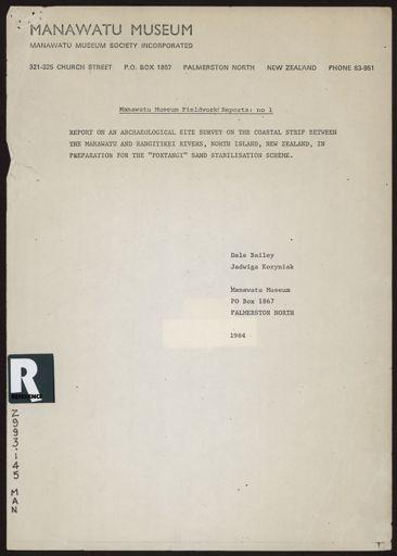 """""""Manawatu Museum Fieldwork Reports: No. 1"""""""
