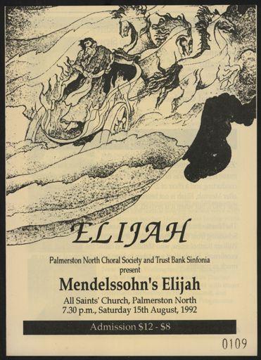 Palmerston North Choral Society - Elijah programe