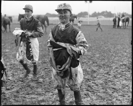 """The Mud Did Fly"" Jockeys at Race Meet"