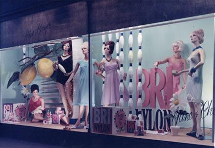 Milne and Choyce window display of women's Bri Nylon petticoats and nightwear