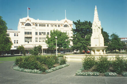 Coronation Fountain and the Arthur Barnett department store, The Square