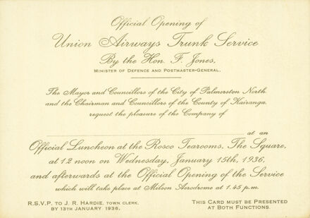 Invitation to the official opening of Union Airways Trunk Service