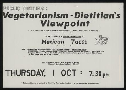 Vegetarianism public meeting poster
