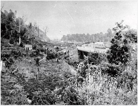 Upper Manawatu Gorge Bridge and settlement, near Woodville