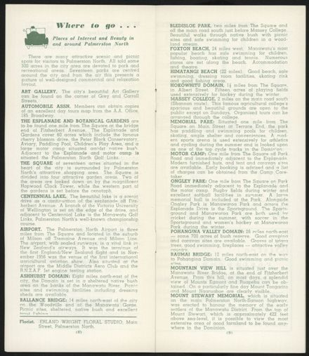 Visitors Guide Palmerston North and Feilding: July-September 1962 - 6