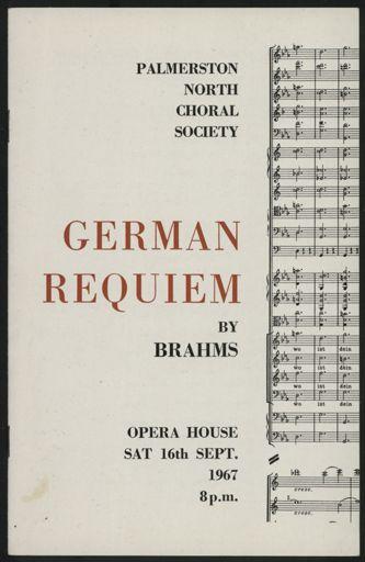 Palmerston North Choral Society - German Requiem programme