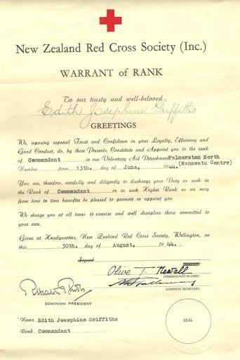 Red Cross Warrant of Rank.