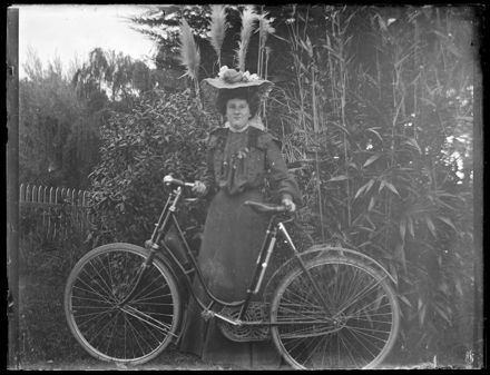 Unidentified Woman with Bicycle