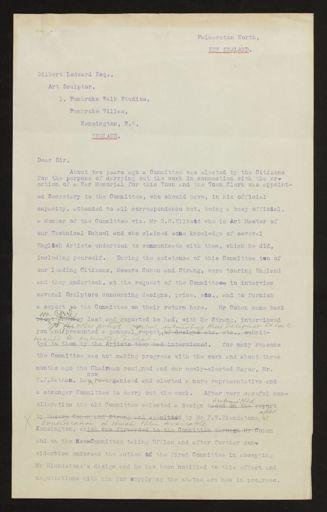 Correspondence regarding design of memorial, PN & Districts Soldiers' Memorial Fund, 1923