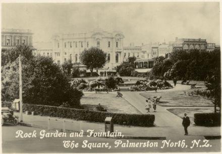 "Palmerston North Souvenir Photo Cards - ""Rock Garden and Fountain, The Square"""