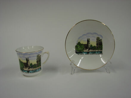 Image 2: Ceramic cup and plate set with painting of The Lakelet in The Square