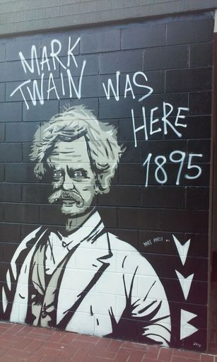 """Mark Twain was Here"" Mural on Side of Palmerston North City Council Building"