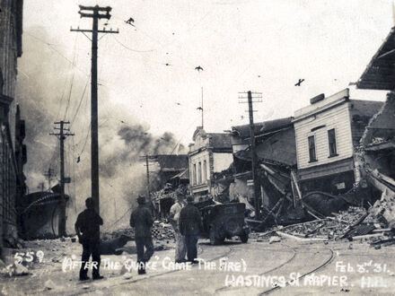Fire in Hastings Street after Napier Earthquake