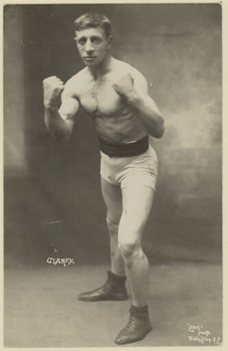 "Demonstration of a Boxing Stance by ""Clarke"""