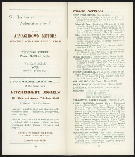Visitors Guide Palmerston North and Feilding: July-September 1962 - 3