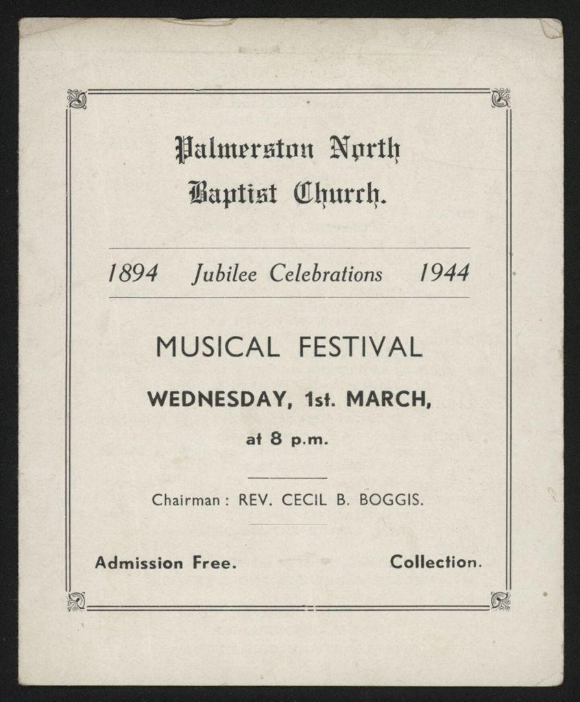 Palmerston North Baptist Church Music Festival