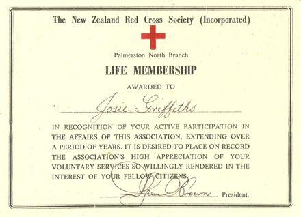 Red Cross Life Membership.