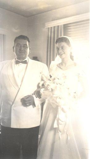 Ida (Ada) Ann with her father Elwood, on her wedding day.