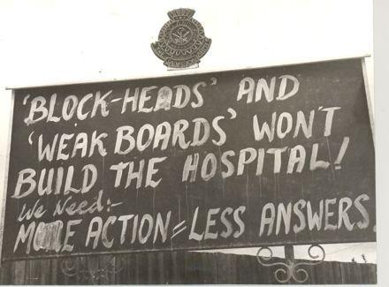 Billboard protest, re Horo. Hospital, 1969