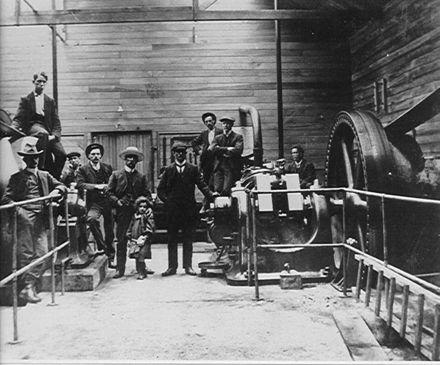 Engine room, 'Miranui' flaxmill, Shannon, c.1908