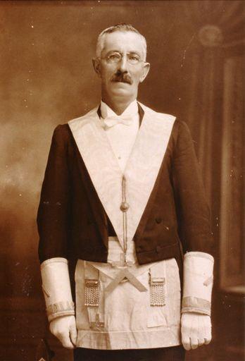 E. S. Lancaster in Lodge regalia