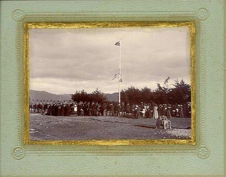 Flag raising ceremony at Shannon School, July 1901