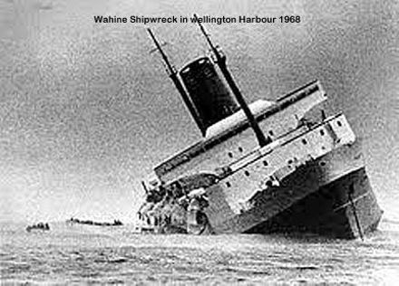 Waihine Shipwreck in Wellinton Harbour 1968