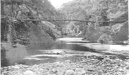 Tramline bridge, Mangahao Gorge, 1922