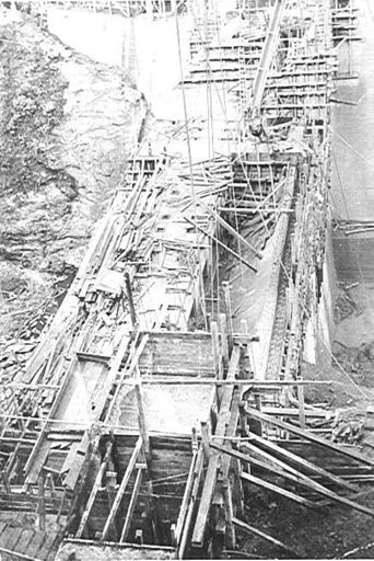 Mangahao Dam (Lower ?) nearing completion, 1920's
